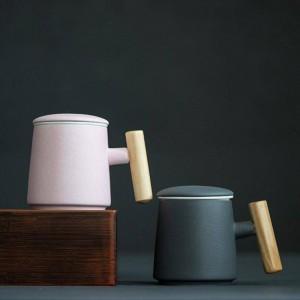 Taza de cerámica de café de 400 ml Mango de madera creativo Taza de leche Taza de agua Taza de té de mano Siente la luz Uso extenso