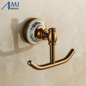 410AAP Series Antique Antique Hook Hook Base de aluminio y porcelana Ropa gancho Accesorios de baño Accesorios Robe Hooks
