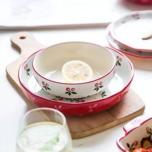 Juego de vajilla para 4 personas Juego de platos de vajilla de cerámica con diseño de cereza japonesa de 10 cabezas