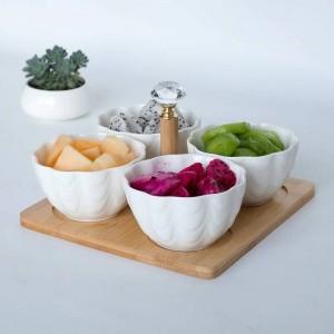 4 unid / set con bandeja Tenedor Cerámica Creativa Frutero Ensalada Cuenco Partición Fruta Ensalada Plato de aperitivo Plato de fruta seca platos japoneses
