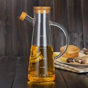 500 ml transparente Alto Vidrio Borosilicato Vidrio Resistente al calor Ollas de aceite Botellas de cocina Condimentos de soja Salsa Botellas de vinagre