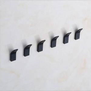 5 piezas Espacio Aluminio Puñetazo Gancho gratuito Cocina Baño Sala de estar Gancho de almacenamiento Negro Moderno Simplicidad Organizador del hogar