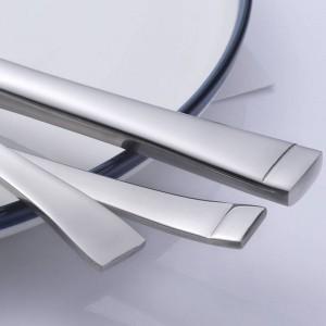 Juego de cubiertos de acero inoxidable de 5 piezas Servicio de borde cuadrado para cuchillo Tenedor Cuchara Vajilla 5 piezas / juego Vajilla de alta calidad