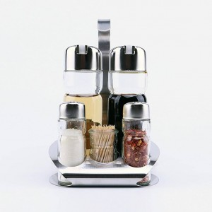 5 piezas de cocina, vidrio, especias, botellas, palillo de dientes, condimento, almacenamiento, estante, conjunto, caliente
