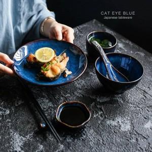 5 piezas por juego de vajilla de cerámica azul profundo Juego de cena para 1 persona plato plato taza salsa plato vajilla de porcelana