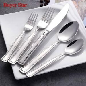 5 Unids / set Juego de cubiertos con perlas de borde 18/8 Cubiertos de acero inoxidable Servicio de vajilla para cuchillos y tenedores de cuchillos