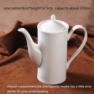 650ml Modern Coffee Milk Pot Ceramic Bone White Hand Teapot Drinkware / Home Juice Tea Hervidor de agua Tarde Teteras