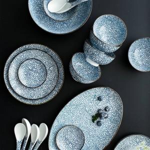 Juego de vajilla de porcelana para 6 personas Juego de vajilla de cerámica de diseño japonés de 22 cabezas