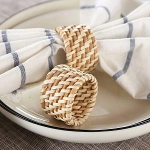 6 unids / set servilleta de restaurante de hotel de lujo sólida boca de tela de flor plegable y anillo de servilleta de ratán hecho a mano