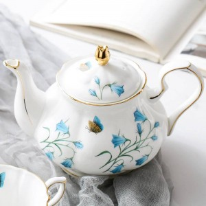 780 ml de estilo europeo, olla de café, patrón de flores, tetera de porcelana de cerámica / utensilios modernos para el desayuno, olla de leche, jugo, hervidor de agua