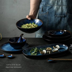 7 cabezas o 14 cabezas o 32 cabezas azul oscuro vajilla vajilla de cerámica juego de plato plato tazón taza salsa plato porcelana vajilla