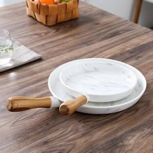 8 y 10 pulgadas Mango de madera Plato de mármol Juego de platos Plato de postre Vajilla Plato de pastel Bandeja de postre