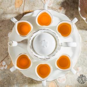 8 PIEZAS Juego de té de cerámica de estilo europeo Juego de té de hueso con bandeja Té de la tarde inglés Té de frutas y té de flores