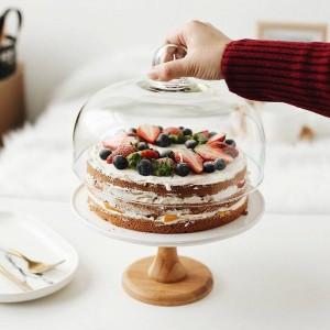 9 '' Compota de cerámica Soporte de la torta Porcelana decorativa Bandeja de postre Cubierta de vidrio que sirve vajilla Utensilio para cumpleaños y boda