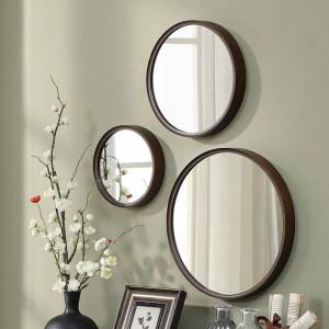 A1 1pack estilo de madera espejo de baño redondo colgante de pared dormitorio espejo tocador decoración maquillaje espejo wx8231340