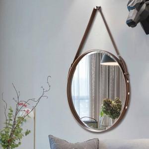 A1 Cinturón baño espejo colgante de pared espejo decorativo hotel baño espejo restaurante pared arte redondo colgante espejo wx8281346