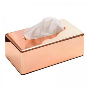 Chapado en ABS Caja de pañuelos de oro rosa Soporte Sala de estar Cocina Restaurante Papel higiénico Servilletas Soporte Lslak Mendil Kutusu