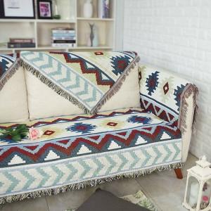 Todos coinciden con la manta de tiro ondulado exótico Hilo de algodón Funda de sofá Funda geométrica de manta Cobertor Mantas para camas Borla Navidad