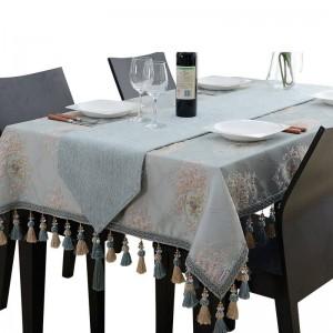 Diseño increíble mantel bordado de lujo azul jacquard borla Toalha De Mesa Royal N manteles de mesa de lino