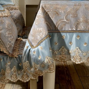 Diseño increíble Jacquard Mantel Azul / Amarillo Encaje Festival de lujo Boda Habitación moderna Decoración Paño de tabla / Cubierta de tabla personalizada