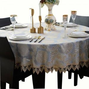 Increíble mantel redondo Jacquard mantel clásico elegante Decoracao para casa borde de encaje Toalha de mesa tapete mesa cubierta