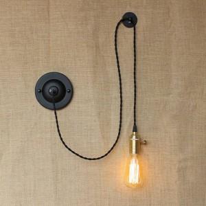 Lámparas de pared creativas de arte americano del país americano Aplique de pared industrial vintage con interruptor de perilla para luz de lectura junto a la cama del dormitorio