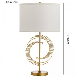 Lámpara de mesa simple de moda americana lámpara de metal cuerpo pantalla de tela lámpara de mesa diseñador estudio dormitorio lectura E27 portalámparas
