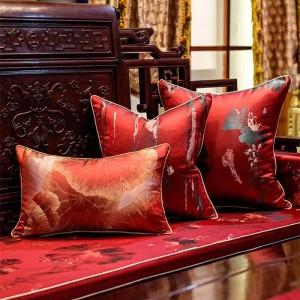 Funda de cojín bordado antiguo Planta roja Cojines Decorativos para sofá Fundas de cojín Cojines suaves Housse De Coussin