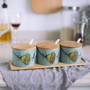 Condimento de cerámica de bambú Pájaro de cerámica pintado a mano Frascos de especias Juego de ollas Salsa Pimentero Sazonador Cocina Cocina