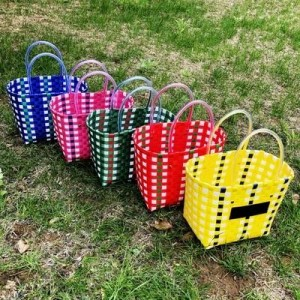 cesta tejida a mano cesta ins neta roja bolsa tote cesta de la compra cesta de la compra