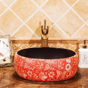 Cuarto de baño Lavabo Lavabo sobre encimera de cerámica Lavabo Guardarropa pintado a mano Lavabo del baño fregadero de tocador vintage rojo