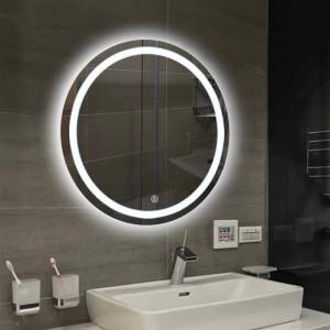 Cuarto de baño pared LED luz espejo redondo colgante de pared baño inodoro espejo de maquillaje interruptor táctil blanco luz cálida mx12151606