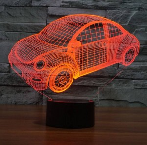 Lámpara de ilusión 3D del coche de los Beatles, interruptor táctil usb LED luz nocturna Gradiente colorido Grabado acrílico Luz de noche creativa visual 3D