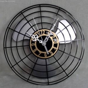 Productos más vendidos Reloj de pared de ventilador eléctrico antiguo Reloj de pared de reloj retro continental Tabla Reloj de pared de pared creativo Silencio