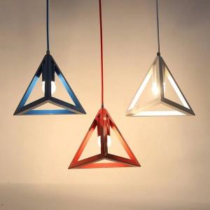 Luces colgantes LED moderna simple macaron colores Triángulo de hierro arte lámpara colgante Foyer dormitorio niños habitación accesorio de iluminación