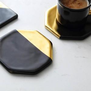 Recubrimiento de mármol negro Cerámica de oro Coaster Copa Esteras Almohadillas Decoración para el hogar Herramientas de cocina Escritorio antideslizante Lujo Pad Europa Style