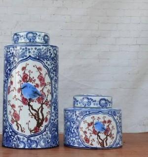 Esmalte azul y blanco Adornos Florero y porcelana Olla Decoración Circular Nuevo Clásico Muebles para el hogar jarrón de cerámica jarrón