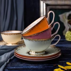 Juego de tazas de té de porcelana ósea Tazas y platillos de cerámica de alto grado para café Juego de vasos de 200 ml