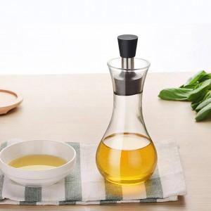 Botella de condimento de vidrio de borosilicato Salsa de soja creativa Olla con tapa Antideslizante Sin fugas de aceite Salsa Barcos Vajilla