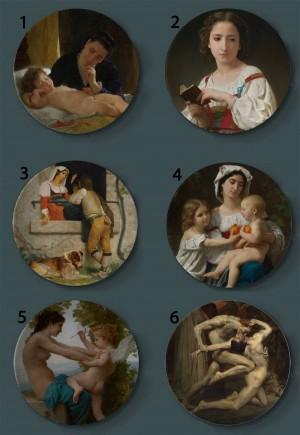 Bouguereau Pintura Placas decorativas Cerámica Hogar Plato artístico Hotel Fondo Pantalla Madre e hijo Placa de pintura al óleo