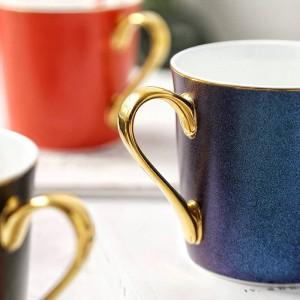 Estrellas brillantes Taza de hueso Porcelana de borde dorado Tazas de café Desayuno Taza de agua espresso té fiesta tazas de café en casa Beber