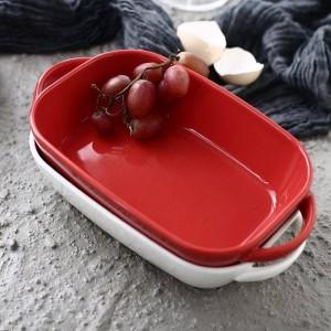 Plato de cerámica para hornear Ravioli de queso Platos de arroz Vajilla para el hogar Hornear Rectángulo rectangular Horno Tazón Horno de microondas Especialidad