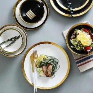 Plato de carne de res de cerámica Plato de desayuno para el hogar Plato de verduras europeo sencillo y creativo con vajilla de Gold Edge