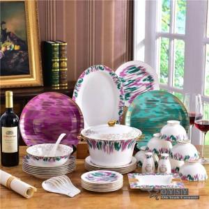 Juego de vajilla de cerámica originalidad de la moda del hueso Diseño colorido 58 piezas juegos de vajilla Juego de cena a rayas inauguración de la casa