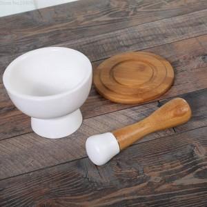 Cuenco de molienda de cerámica Cuenco de ajo Pelar Ajos Alimentos Molinillo de verduras Palito de bambú Polvo Molinillo de especias Molino de granos