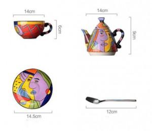 Tetera de cerámica juegos de vajilla taza y platillo juegos de té de café pintura a mano arte diseño vajilla tetera