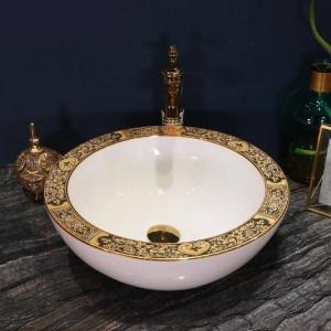 Artístico Lavabo de cerámica hecho a mano Lavobo Lavabo sobre encimera Lavabos de baño Lavabos de color blanco dorado