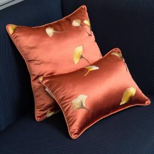 Cojín de seda de imitación cubierta de la hoja de bordado funda de almohada de lujo Cojines de Navidad Decorativos Para Sofá