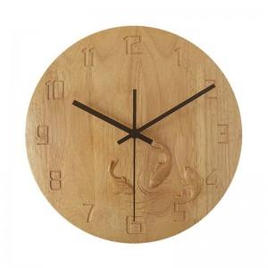 reloj de pared creativo de madera maciza dormitorio de carpa tallado a mano reloj de pared de madera mudo sala de estar relojes de estudio