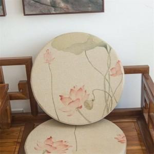 Tela de lino de alta calidad redondo Cojín creativo patrón de loto rosa cojines Espesar tatami estera de yoga almohadilla del asiento